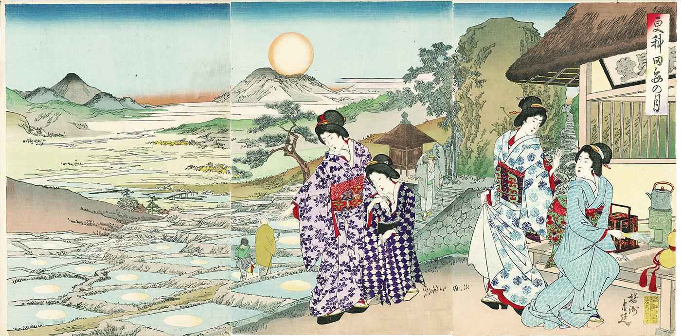 揚州周延作 錦絵「更科田毎の月」